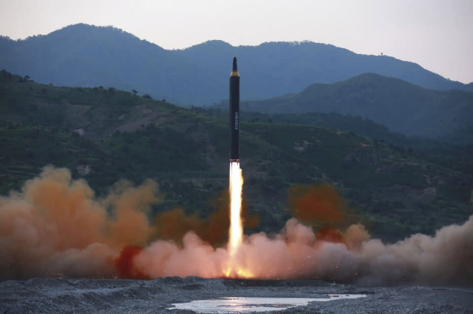 The Hwasong-14 missile reached an altitude of 2802 kilometres and hit its target in Japan's Exclusive Economic Zone after 39 minutes. Photo: AP