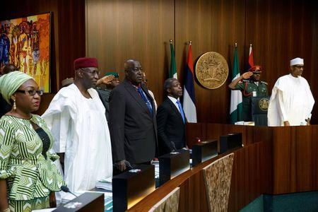 President Muhammadu Buhari is seen as he chairs first cabinet meeting since his arrival in Abuja
