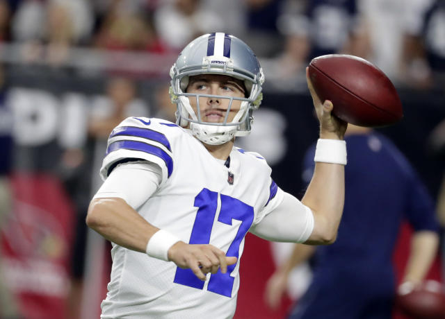 Dallas Cowboys quarterback Kellen Moore (17) during an NFL football game against the Arizona Cardinals, Monday, Sept. 25, 2017, in Glendale, Ariz. (AP Photo/Rick Scuteri)