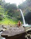 In front of La Fortuna waterfall in Costa Rica.