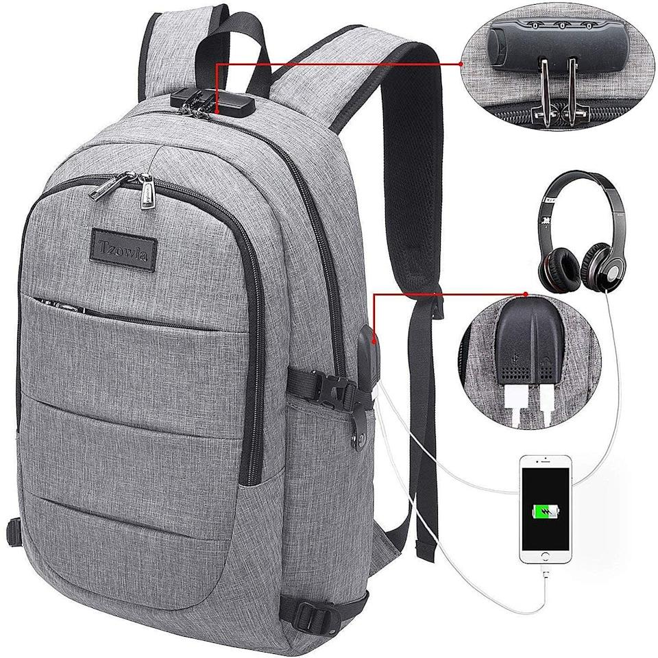 """<p>This <a href=""""https://www.popsugar.com/buy/Tzowla-Business-Laptop-Backpack-Water-Resistant-Anti-Theft-Backpack-405299?p_name=Tzowla%20Business%20Laptop%20Backpack%20Water%20Resistant%20Anti-Theft%20Backpack&retailer=amazon.com&pid=405299&price=29&evar1=geek%3Aus&evar9=36026397&evar98=https%3A%2F%2Fwww.popsugar.com%2Ftech%2Fphoto-gallery%2F36026397%2Fimage%2F45754808%2FTzowla-Business-Laptop-Backpack-Water-Resistant-Anti-Theft-Backpack&list1=gifts%2Cgadgets%2Cgift%20guide%2Cdigital%20life%2Ctech%20shopping%2Ctech%20gifts%2Cgifts%20for%20men&prop13=mobile&pdata=1"""" class=""""link rapid-noclick-resp"""" rel=""""nofollow noopener"""" target=""""_blank"""" data-ylk=""""slk:Tzowla Business Laptop Backpack Water Resistant Anti-Theft Backpack"""">Tzowla Business Laptop Backpack Water Resistant Anti-Theft Backpack </a> ($29) is ideal for the guy who takes his gadgets everywhere. </p>"""