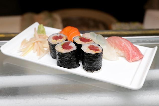 A German athlete has been banned from an all-you-can-eat sushi restaurant for consuming about 100 plates of food. (Getty Images)