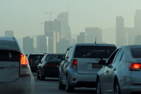 FILE PHOTO: Commuters navigate early morning traffic as they drive toward downtown in Los Angeles, California