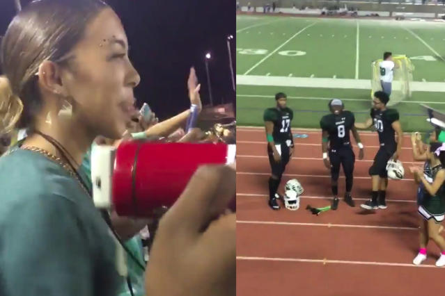 A teen asked a football player to the homecoming dance in front of the entire school in the middle of a game. (Photo: hanakopitskie/Twitter)