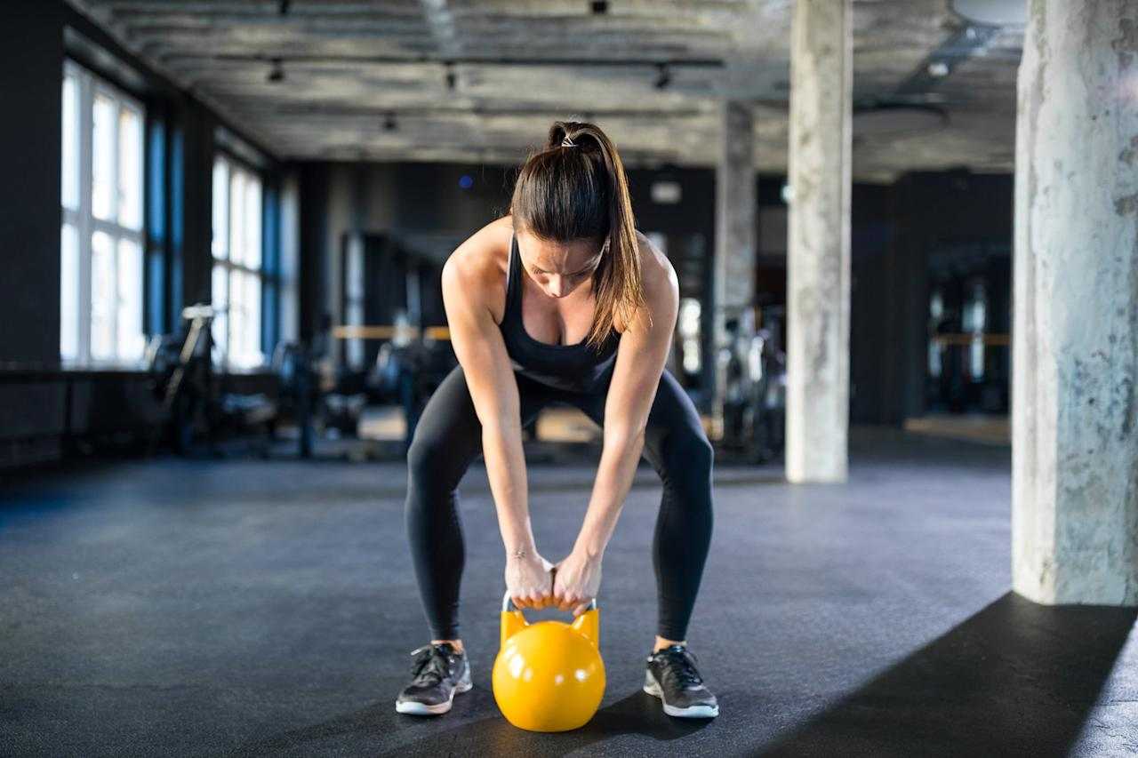"""<p>If you're still getting the hang of kettlebells and CrossFit, try this <a href=""""https://www.popsugar.com/fitness/CrossFit-Kettlebell-Workout-46153972"""" class=""""ga-track"""" data-ga-category=""""Related"""" data-ga-label=""""https://www.popsugar.com/fitness/CrossFit-Kettlebell-Workout-46153972"""" data-ga-action=""""In-Line Links"""">10-minute total-body kettlebell workout</a>. This workout will primarily work your lower body but you'll also feel your abs and arms light up.</p>"""