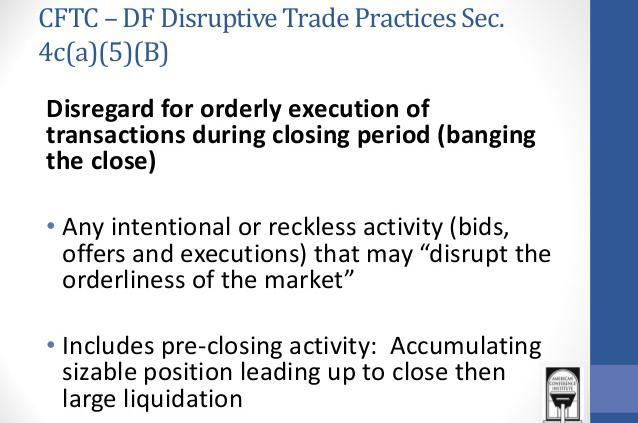 Banging the Close CFTC definitions