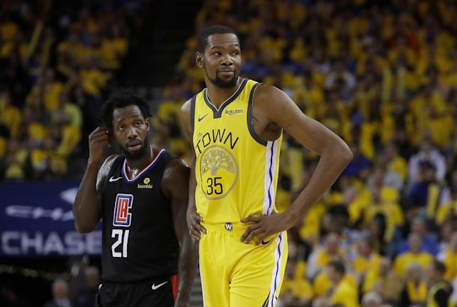 Kevin Durant didn't want to talk about leaving the Warriors. (AP Photo/Jeff Chiu)