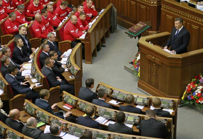 File photo of Ukrainian President Yanukovych addressing deputies during a new session of the Parliament in Kiev