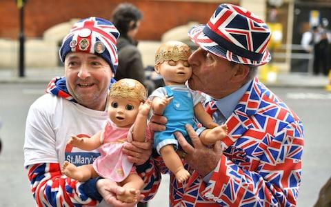 Royal fans John Loughrey (left) and Terry Hutt outside the Lindo Wing at St Mary's Hospital in Paddington, London, where the Duchess of Cambridge gave birth to her three children - Credit: Dominic Lipinski/PA