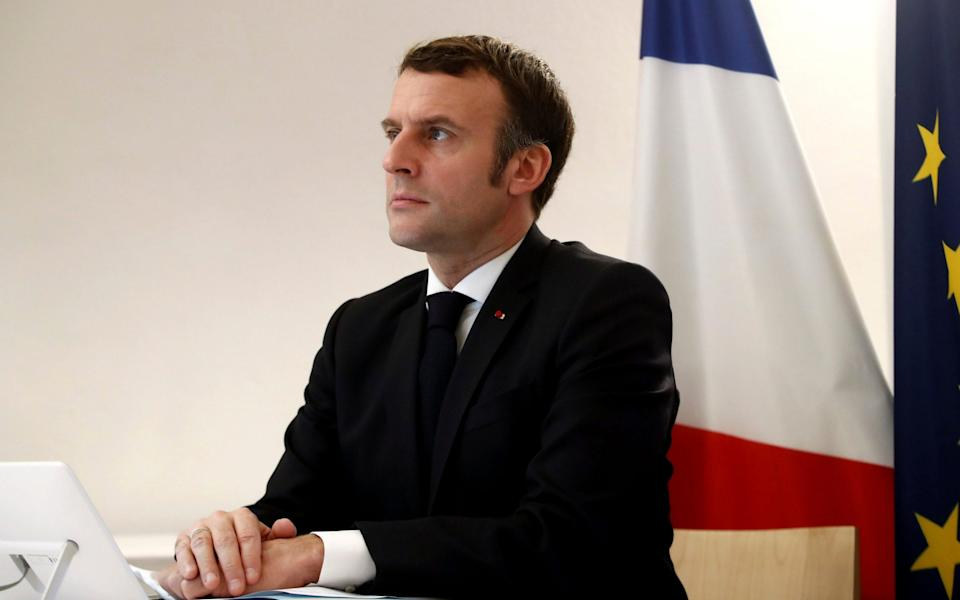 French President Emmanuel Macron was in attendance at the EU-China video-conference - EPA Pool