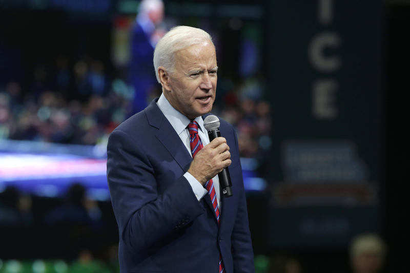 Democratic presidential candidate former Vice President Joe Biden speaks during the Iowa Democratic Party's Liberty and Justice Celebration, Friday, Nov. 1, 2019, in Des Moines, Iowa. (AP Photo/Nati Harnik)