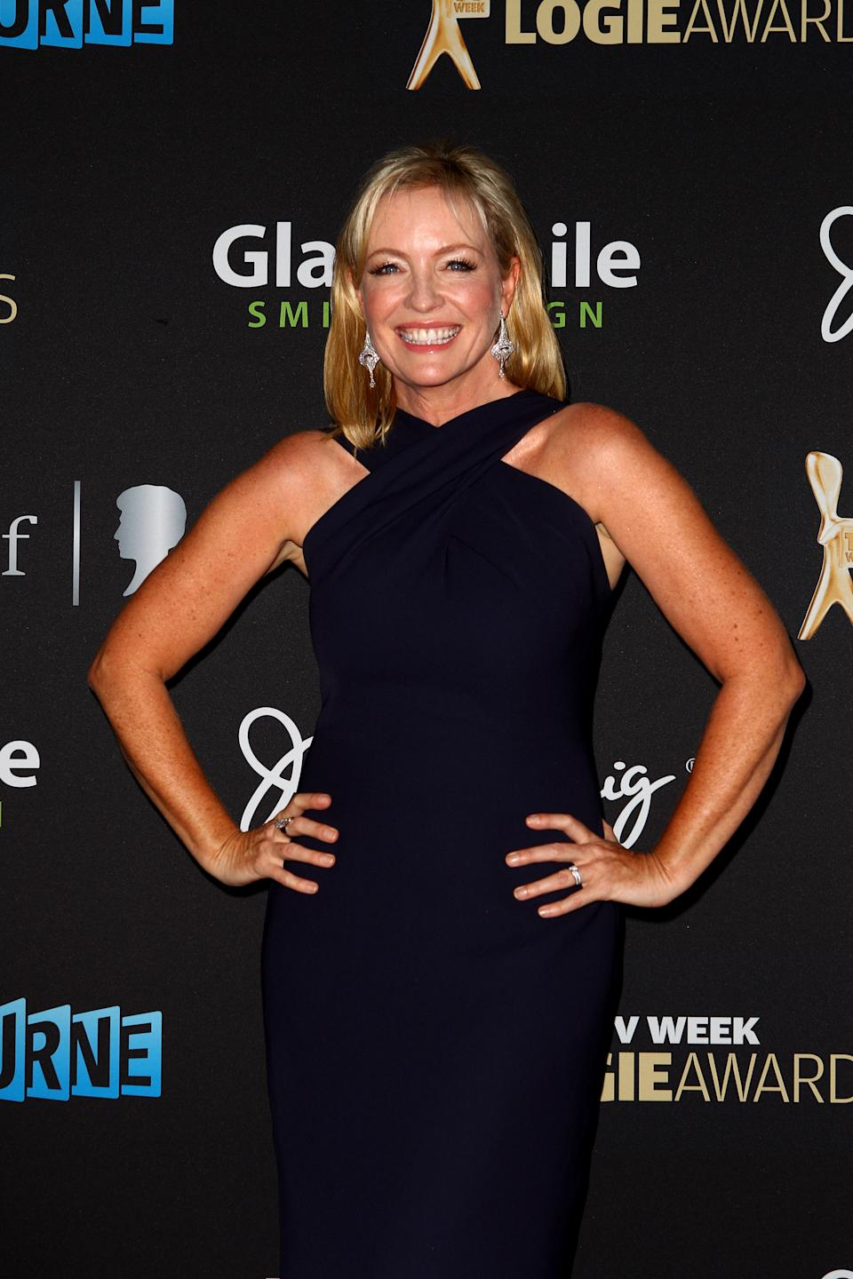 Actress Rebecca Gibney arrives at the 2012 Logie Awards at the Crown Palladium on April 15, 2012 in Melbourne, Australia