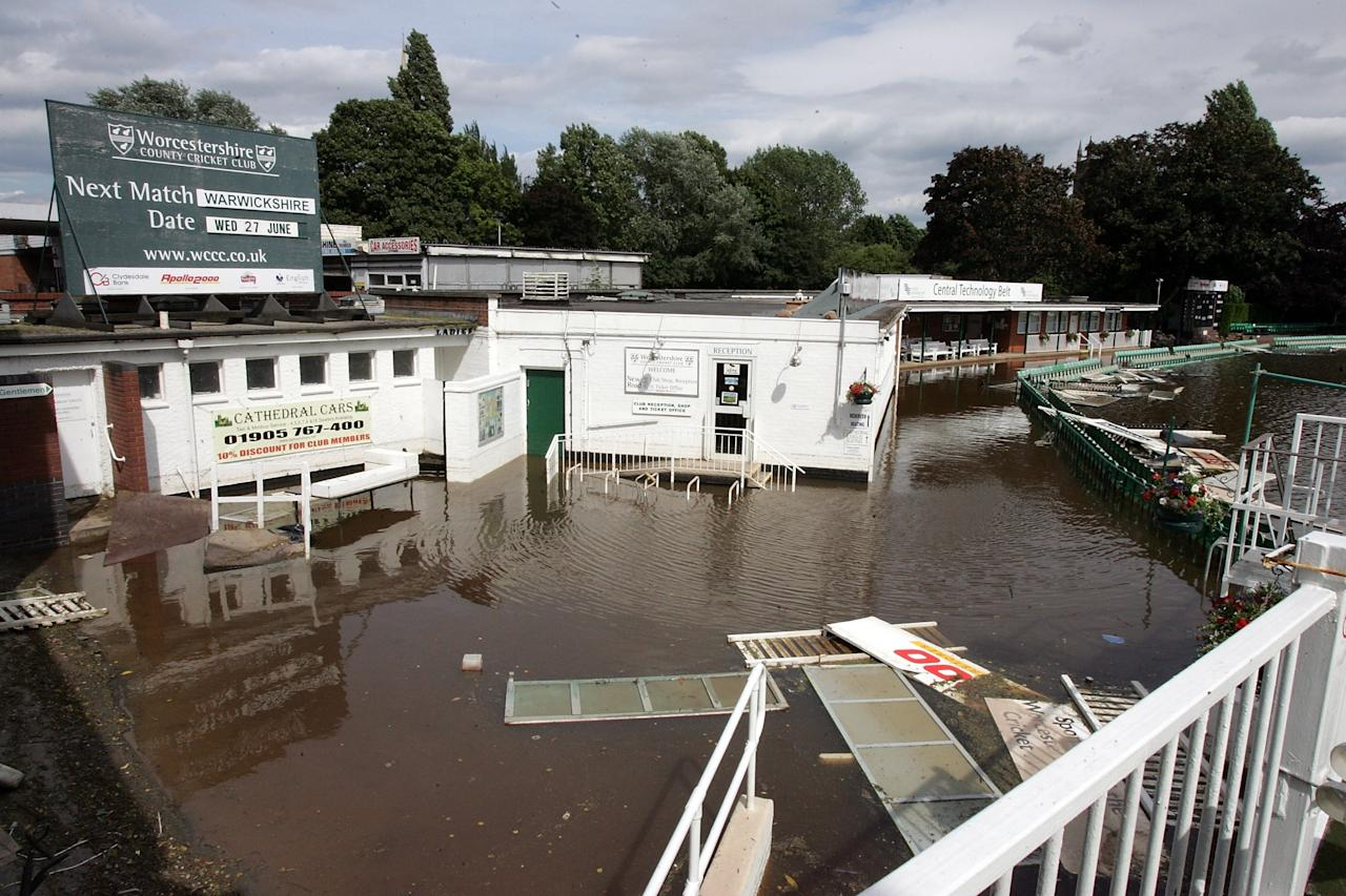 WORCESTER, UNITED KINGDOM - JUNE 28:  Debris floats in the flood water at Worcestershire Cricket Ground in Worcester, on June 28 2007 in England. The Met Office has issued weather warnings of very heavy rain for the weekend leading to more flooding and continued disruption.  (Photo by Matt Cardy/Getty Images)