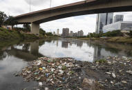 Debris floats in the Pinheiros River in Sao Paulo, Brazil, Thursday, Oct. 22, 2020. Affected by domestic sewage and solid wastes discharges for years, Sao Paulo's state government is again trying to clean the Pinheiros River, considered one of the most polluted in Brazil. (AP Photo/Andre Penner)