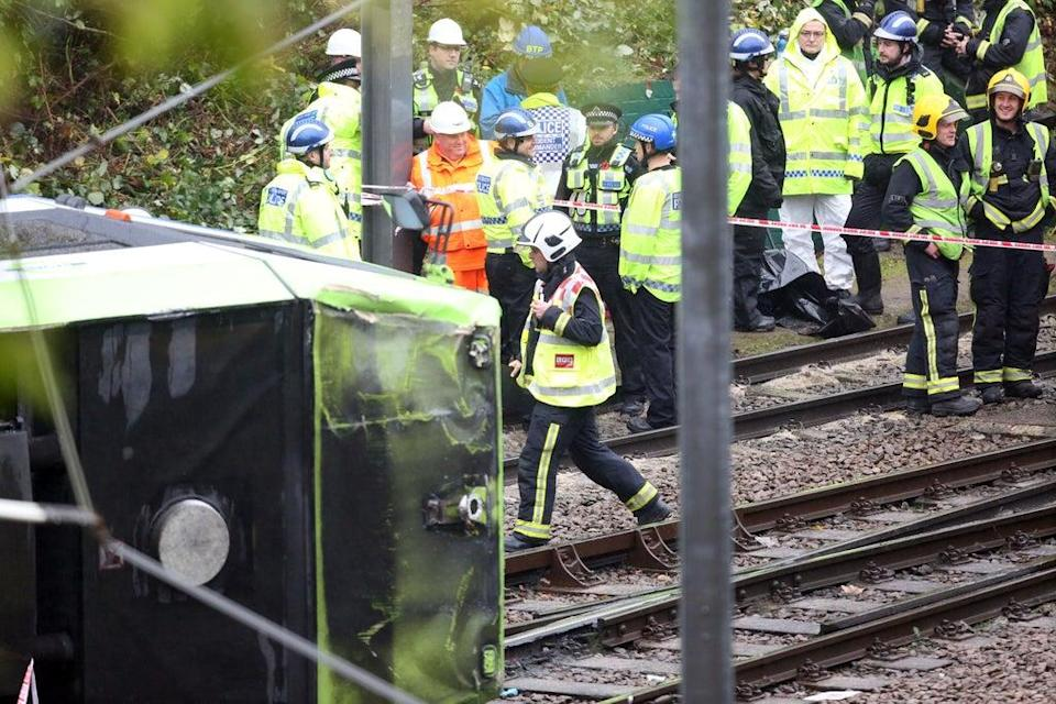 A coroner has urged the Government to consider fitting automatic brakes to trams after seven people were killed in a crash in Croydon, south London in 2016 (Steve Parsons/PA) (PA Archive)
