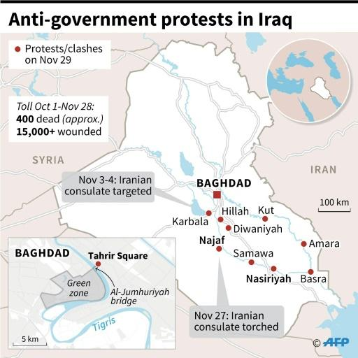 Map showing anti-government protests in southern Iraq as of Nov 29