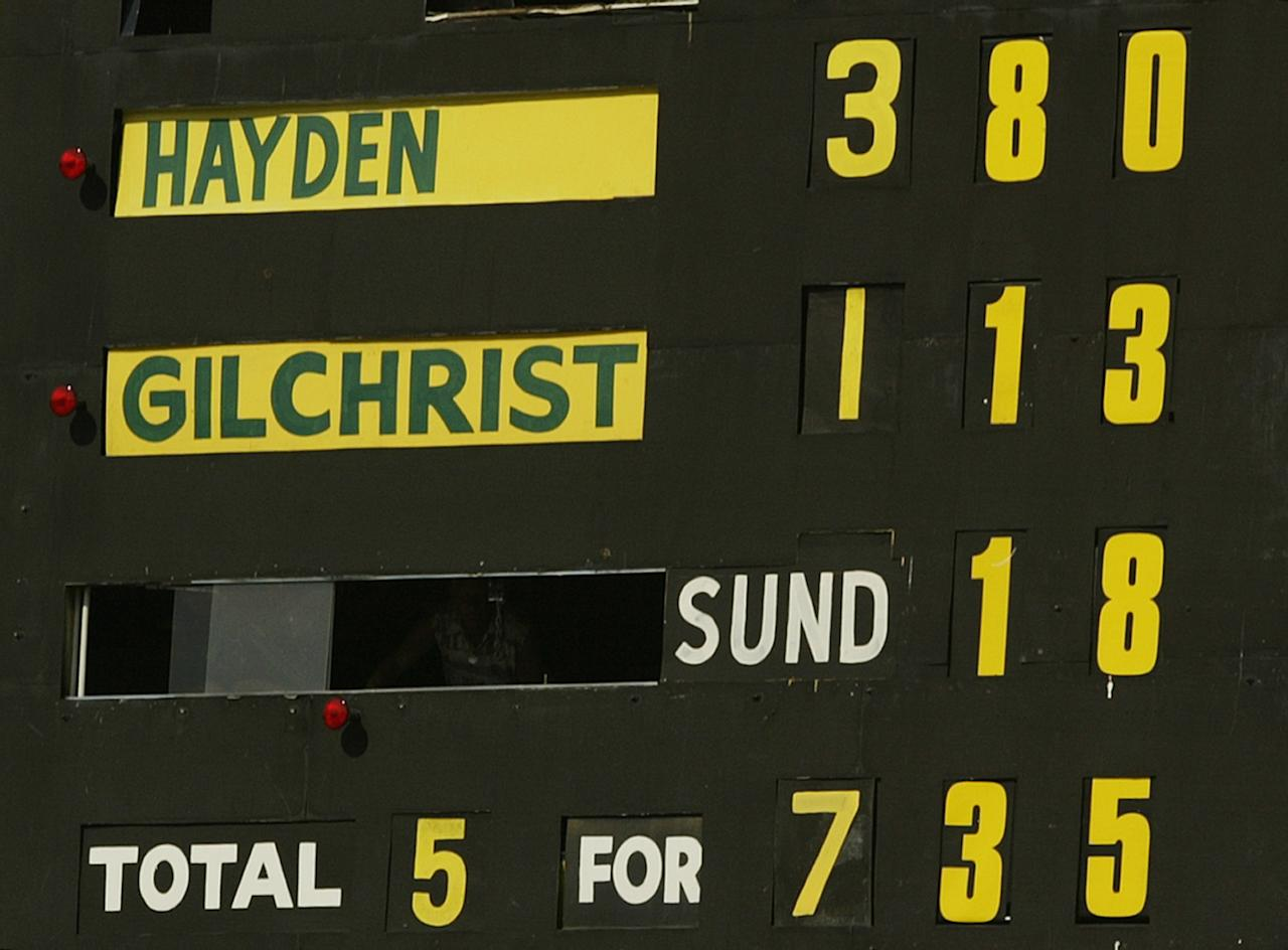 PERTH, AUSTRALIA - OCTOBER 10:  The Scoreboard shows Matthew Hayden of Australia's score of 380 breaking Brian Lara of The West Indies world record of 375 during day two of the First Test between Australia and Zimbabwe played at the WACA Ground on October 10, 2003 in Perth, Australia. (Photo by Hamish Blair/Getty Images)