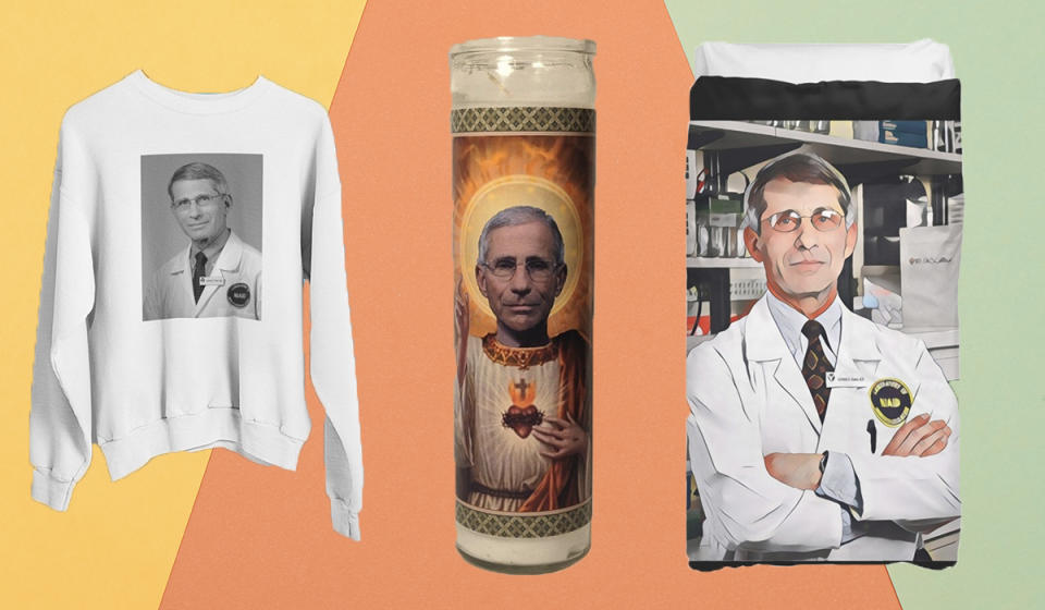 Show your love for Dr. Fauci with these goodies. (Photo: Etsy, Redbubble)