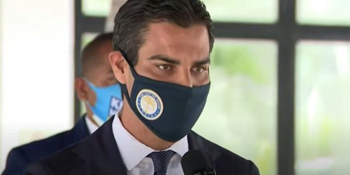 Miami Mayor Francis Suarez at a briefing about the coronavirus outbreak on July 23 2020.