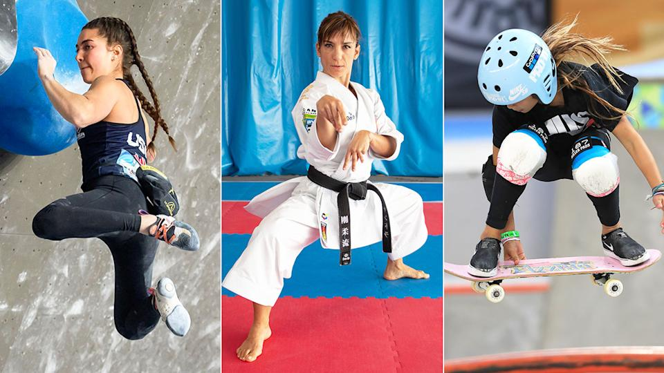 These three pictures show some of the new sports that will be making their Olympic Games debuts in 2021.