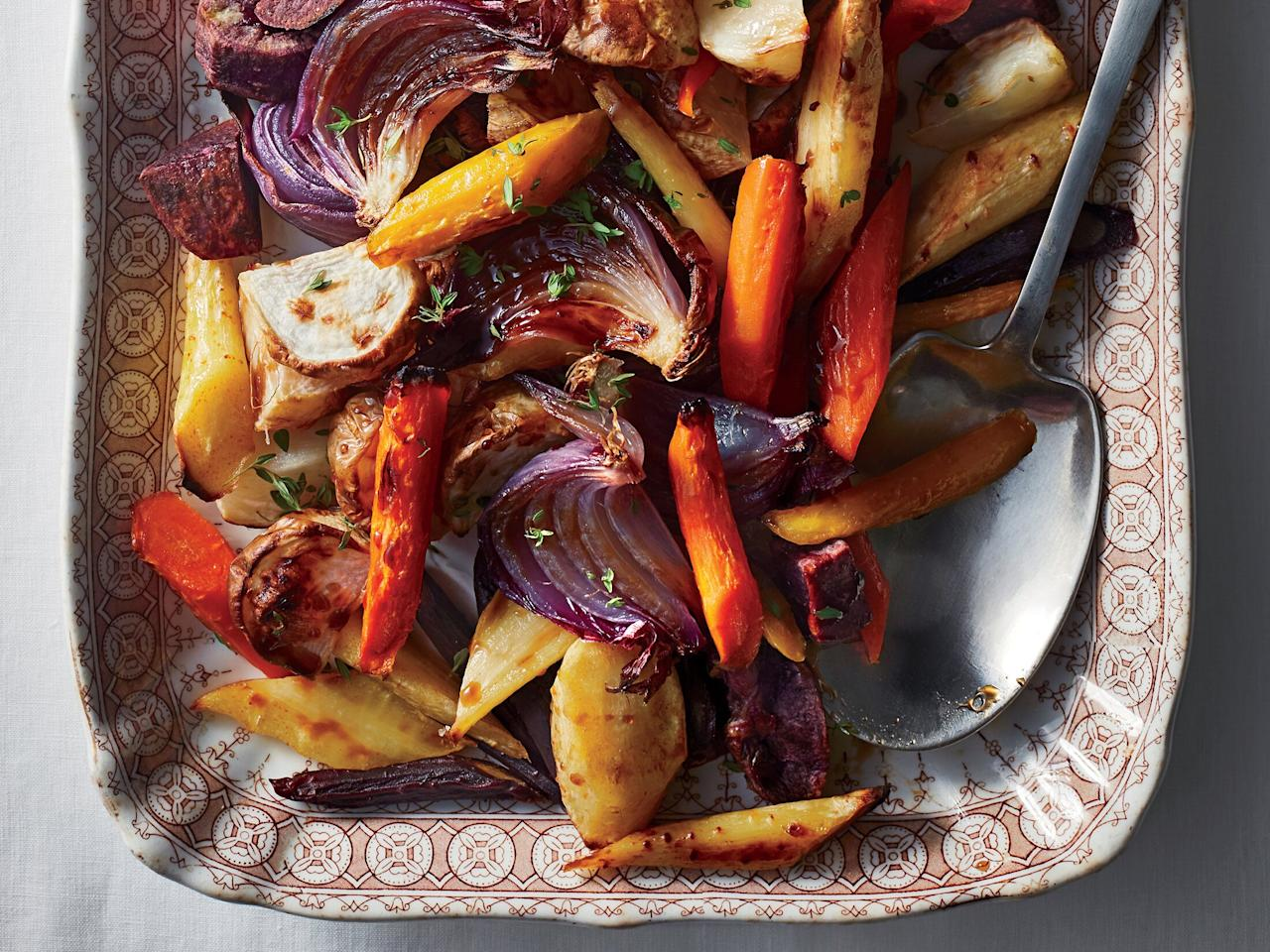 "<p>These vegetables are so good, they may upstage everything else on the table. The balsamic-maple sauce is particularly delicious (and smartly added at the end to keep all flavors and colors vibrant). Roasting the purple vegetables separately will also help keep all the colors looking their best.</p> <p><a href=""https://www.myrecipes.com/recipe/roasted-root-vegetables-with-balsamic-maple-glaze"">Roasted Root Vegetables With Balsamic-Maple Glaze Recipe</a></p>"