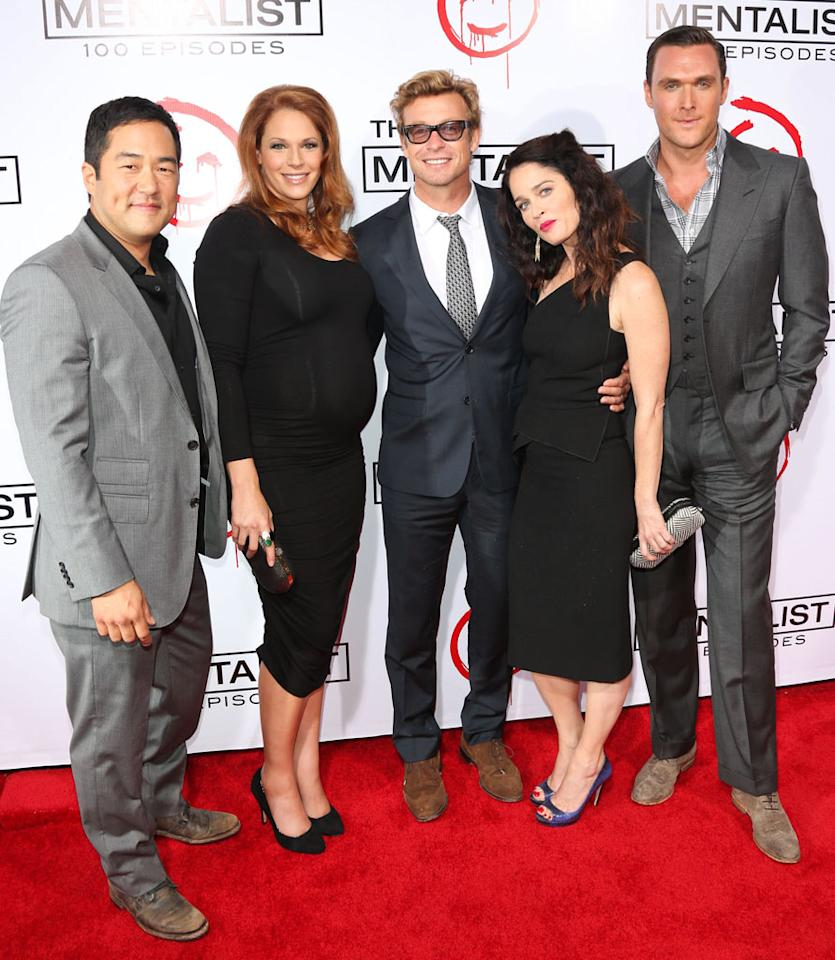 "Tim Kang, Amanda Righetti, Simon Baker, Robin Tunney and Owain Yeoman attend ""The Mentalist"" 100th episode celebration at The Edison on October 13, 2012 in Los Angeles, California."
