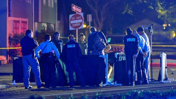 PHOTO: New Orlean Police Department officers process the scene at a fatal hit and run accident along Esplanade Avenue in Bayou St. John in New Orleans, Saturday, March 2, 2019. (AP)