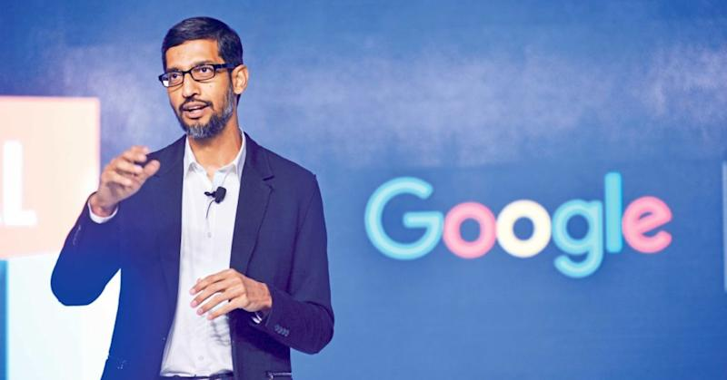 Google CEO Sundar Pichai speaks during Digital Unlocked Google event at Taj palace on Jan. 4, 2017, in New Delhi, India.