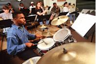 <p>A jazz ensemble rehearses one of its songs at the High School for the Performing and Visual Arts in Texas.</p>