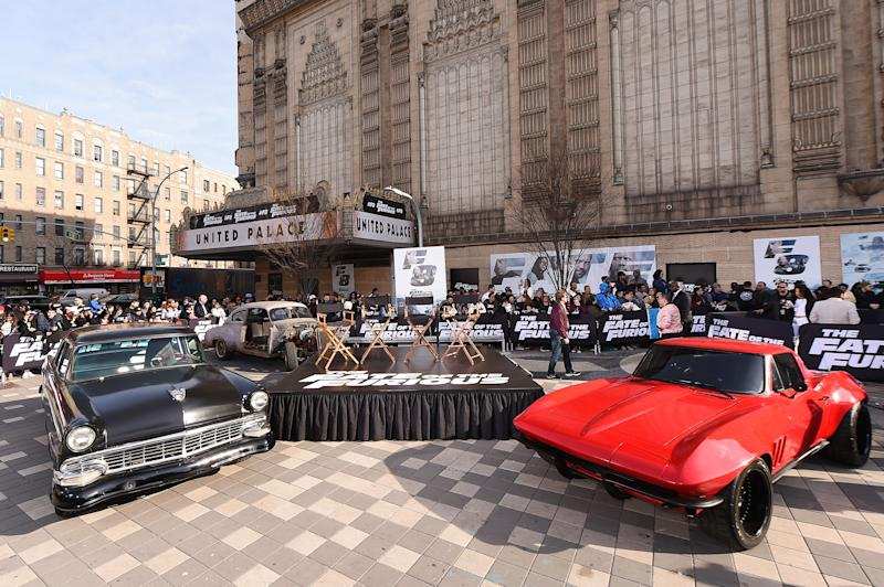 "NEW YORK, NY - APRIL 11: Cars from the movie on display as Vin Diesel and Michelle Rodriguez visit Washington Heights on behalf of ""The Fate Of The Furious"" on April 11, 2017 in New York City. (Photo by Mike Coppola/Getty Images for Universal Pictures)"