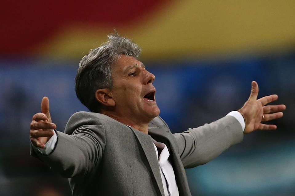 Brazil's Gremio coach Renato Gaucho gestures during the closed-door Copa Libertadores quarterfinal football match between Brazil's Gremio and Brazil's Santos at the Arena do Gremio stadium in Porto Alegre, Brazil, on December 9, 2020. (Photo by DIEGO VARA / POOL / AFP) (Photo by DIEGO VARA/POOL/AFP via Getty Images)