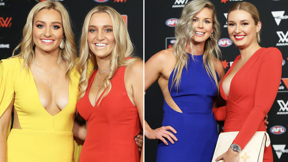 Sarah and Jess Hosking and Katie Brennan, pictured here at the AFLW awards.