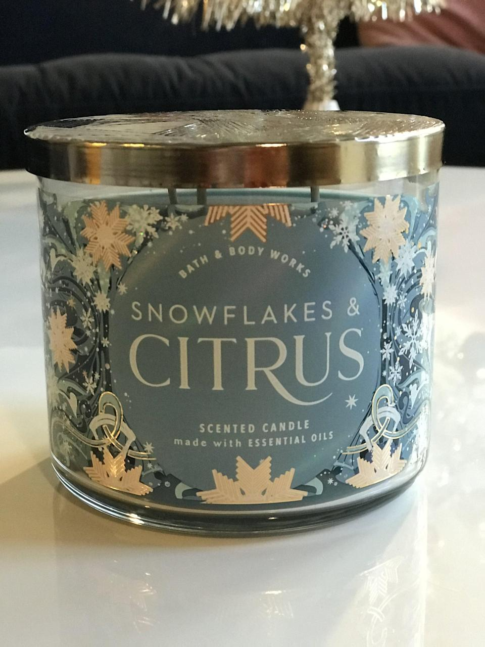<p><span>Snowflakes & Citrus 3-Wick Candle</span> ($15, originally $25)</p> <p><strong>What It Smells Like:</strong> Fresh and light, perfect if you're not into heavily Christmas-type scents.</p>