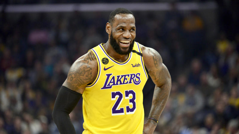 Los Angeles Lakers forward LeBron James (23) reacts in the second half of an NBA basketball game against the Memphis Grizzlies Saturday, Feb. 29, 2020, in Memphis, Tenn. (AP Photo/Brandon Dill)