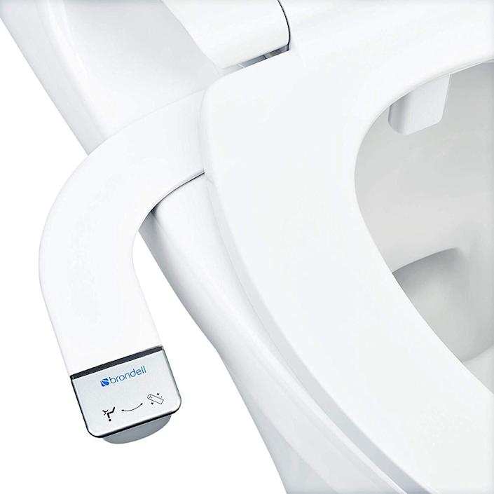 """The Brondell Bidet Thinline SimpleSpa SS-150 has more than 3,000 reviews. Find it for $60 on <a href=""""https://amzn.to/3aYa8SK"""" rel=""""nofollow noopener"""" target=""""_blank"""" data-ylk=""""slk:Amazon"""" class=""""link rapid-noclick-resp"""">Amazon</a>."""