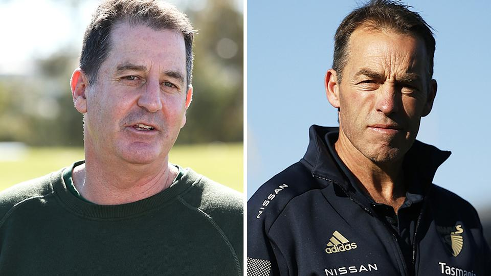 Carlton's pursuit of Ross Lyon and Alastair Clarkson to be the next coach of the Blues has been heavily criticised, with neither candidate now likely to accept the job. Pictures: Getty Images