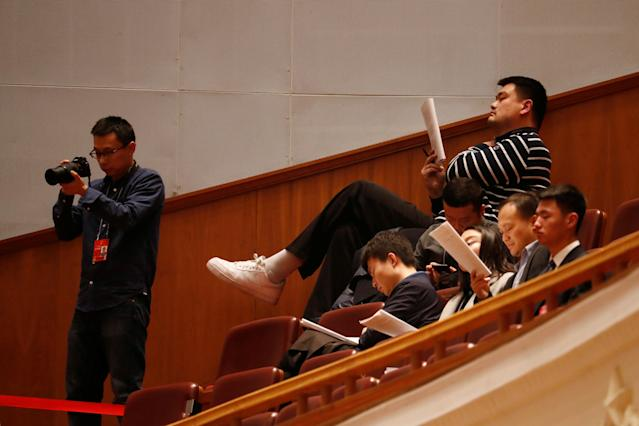 <p>Retired basketball player Yao Ming attends the second plenary session of the National People's Congress (NPC) at the Great Hall of the People in Beijing on March 9, 2018. (Photo: Damir Sagolj/Reuters) </p>