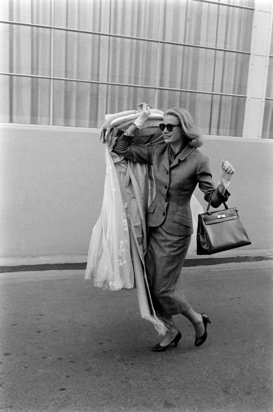 <p>At the height of her career, Kelly retired from Hollywood to take on a new role as Princess of Monaco. Here, she clears out her closet from the studio lot ahead of her upcoming nuptials in 1956. </p>