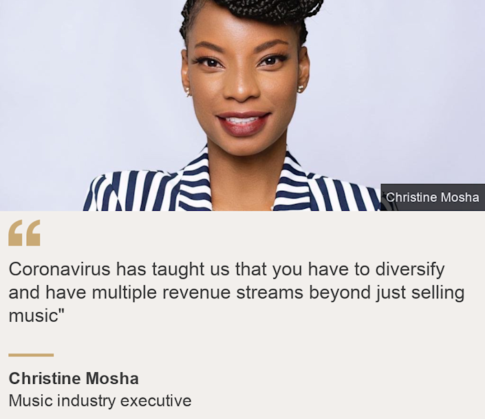 """""""Coronavirus has taught us that you have to diversify and have multiple revenue streams beyond just selling music"""""""", Source: Christine Mosha, Source description: Music industry executive, Image: Christine Mosha"""