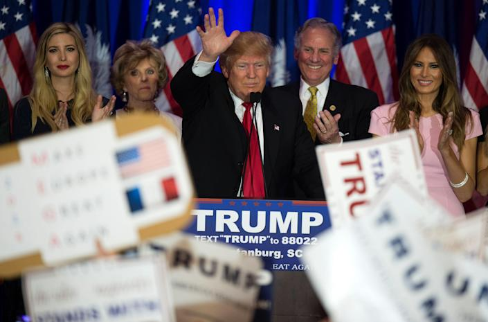 Donald Trump celebrates his victory in the South Carolina primary, Feb. 20, 2016. (Jim Watson/AFP via Getty Images)