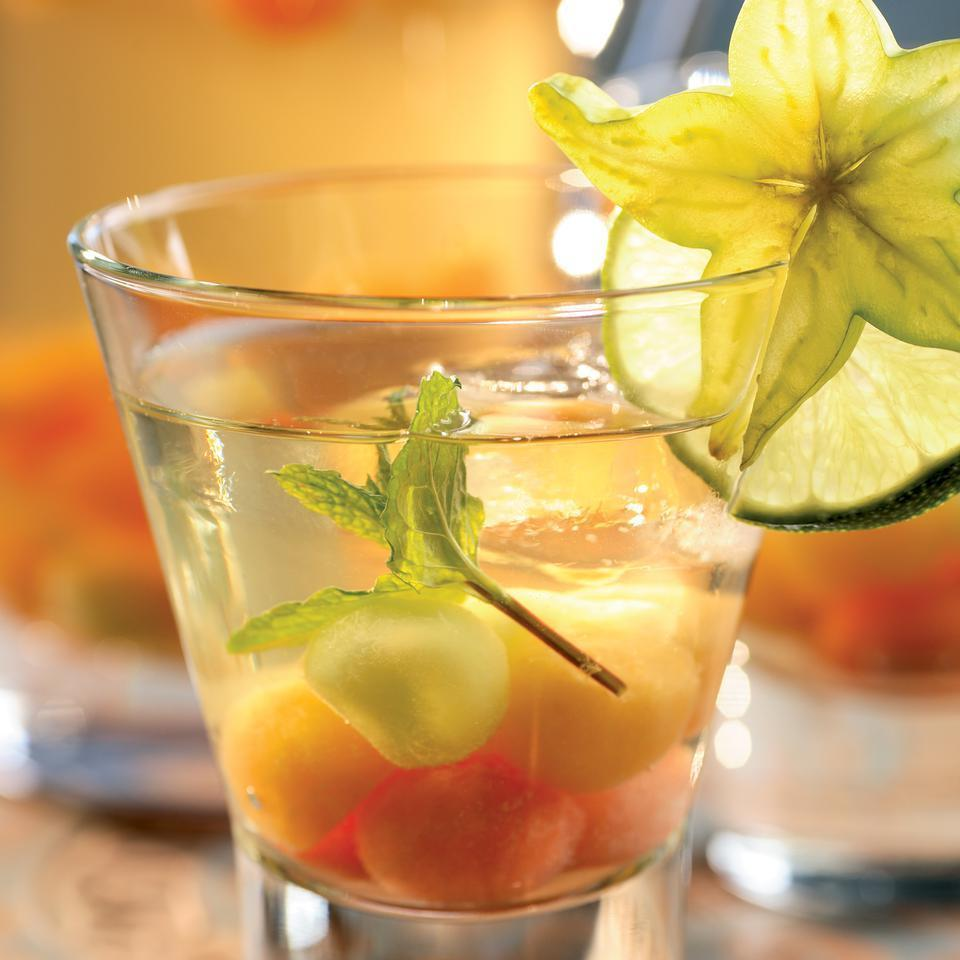 <p>OK, so it's kind of a contradiction for a sangria, which is named for its blood-red color, to be made with white wine, but once you've tasted this festive thirst quencher it won't matter a bit. Pieces of mixed summer melons are the perfect match for a crisp Sauvignon Blanc.</p>