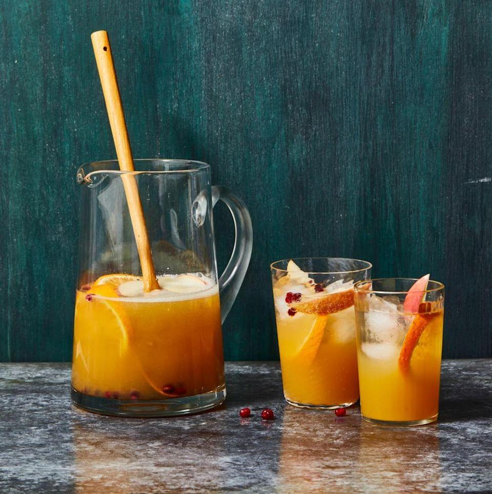 """<p>It isn't fall without a little bit of apple cider! Sliced seasonal fruits and a splash of brandy bring out the fall flavors in this sparkling punch.</p><p><em><a href=""""https://www.goodhousekeeping.com/food-recipes/a33407253/apple-cider-sangria-recipe/"""" rel=""""nofollow noopener"""" target=""""_blank"""" data-ylk=""""slk:Get the recipe for Apple Cider Sangria »"""" class=""""link rapid-noclick-resp"""">Get the recipe for Apple Cider Sangria »</a></em></p>"""