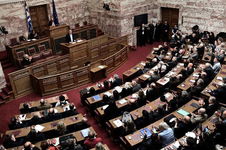 """We will not accept psychological blackmail,"" Greek Prime Minister Alexis Tsipras says in a speech to parliament (AFP Photo/Aris Messinis)"