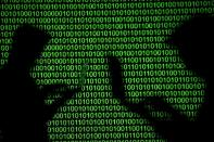 FILE PHOTO: FILE PHOTO: FILE PHOTO: Silhouettes of laptop users are seen next to a screen projection of binary code are seen in this picture illustration