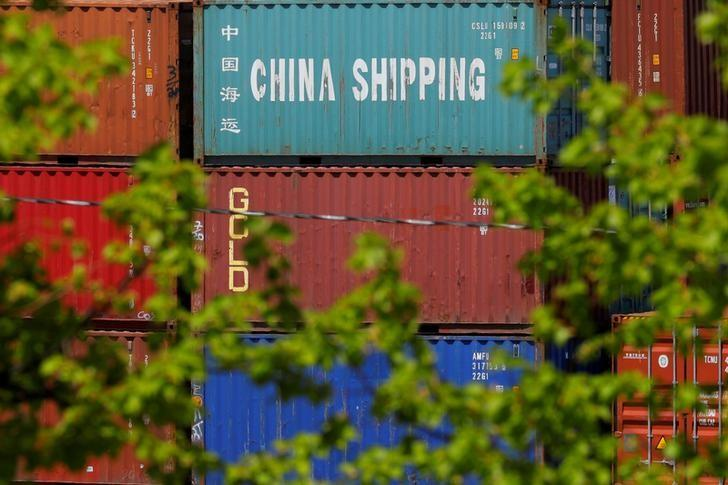 FILE PHOTO: FILE PHOTO: Shipping containers are stacked at the Paul W. Conley Container Terminal in Boston