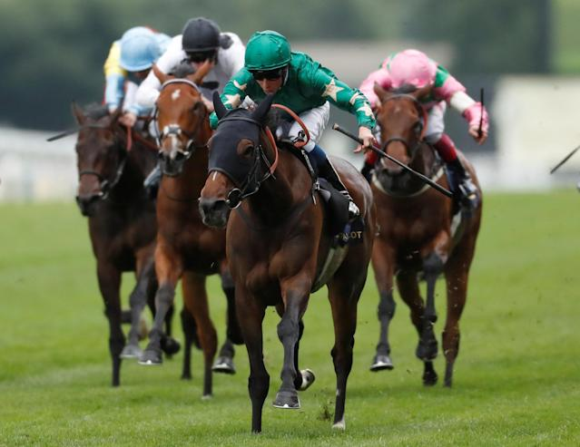 Horse Racing - Royal Ascot - Ascot Racecourse, Ascot, Britain - June 20, 2018 Aljazzi ridden by William Buick wins the 3.40 Duke Of Cambridge Stakes Action Images via Reuters/Andrew Boyers