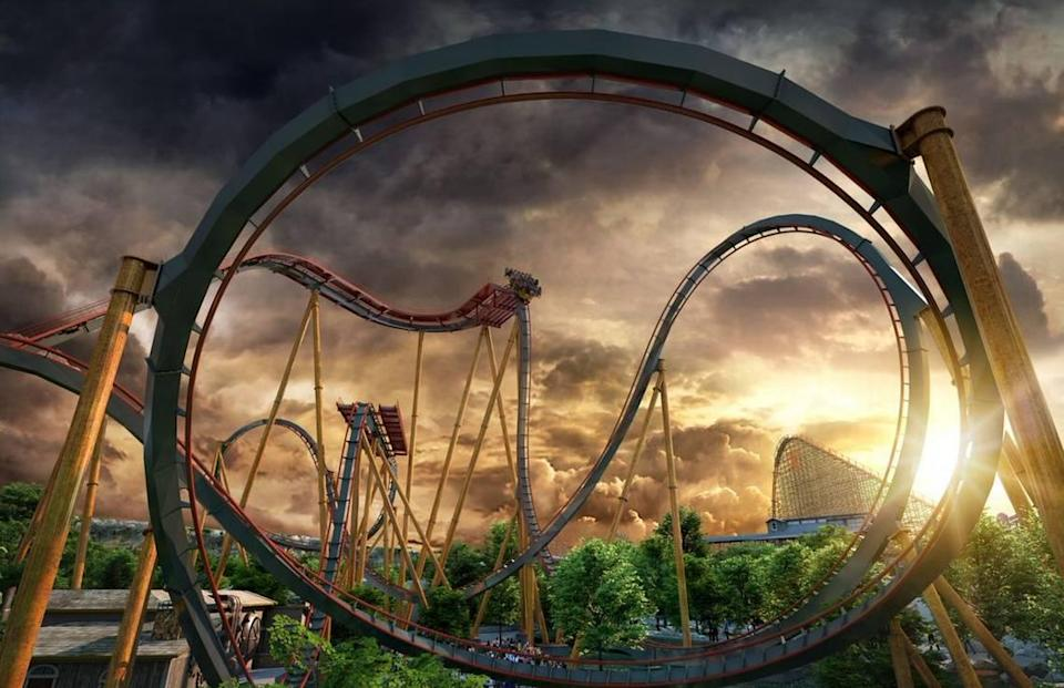 Dr. Diabolical's Cliffhanger will debut next summer at Six Flags Fiesta Texas and will be the world's steepest dive roller coaster.