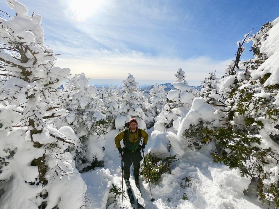 Retired two-time Olympic medalist Andrew Weibrecht poses for a selfie while backcountry skiing on the Nye Mountain Trail on Jan. 31, 2021, just outside Lake Placid, N.Y., in an effort to raise money for the Make-A-Wish Foundation. (Andrew Weibrecht via AP