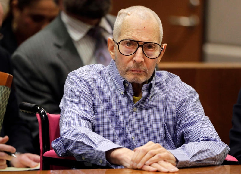 FILE - In this Dec. 21, 2016 file photo, millionaire real estate heir Robert Durst sits in a courtroom in Los Angeles. Prosecutors in the Los Angeles murder case against eccentric New York real estate heir Durst say his victim's words should be used against him in court. A preliminary hearing begins Monday April 16, 2018, to determine if Durst will stand trial for murder in the execution-style shooting of his best friend years ago in Los Angeles. (AP Photo/Jae C. Hong, Pool, File)