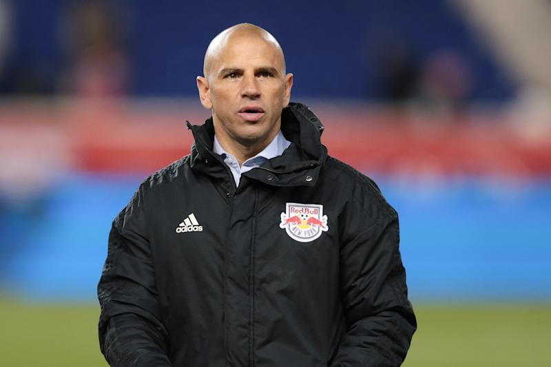 Mar 23, 2019; Harrison, NJ, USA; New York Red Bulls head coach Chris Armas looks on after the game against Orlando City SC at Red Bull Arena. Mandatory Credit: Vincent Carchietta-USA TODAY Sports